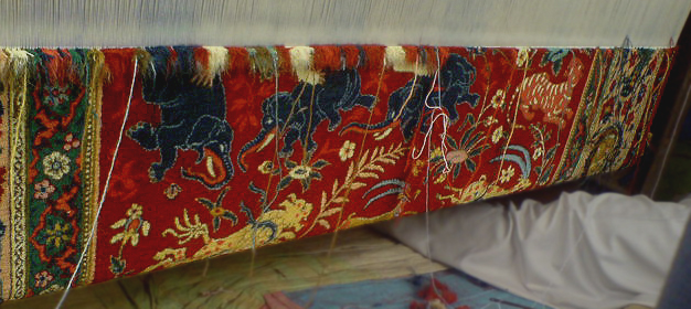 Ames pictorial carpet on the loom