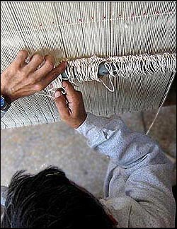 Setting up the heddle